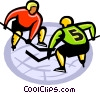 Hockey players ready to face off Vector Clip Art image