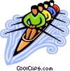 Vector Clip Art picture  of a rowers