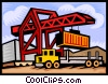 loading containers onto a transport truck Vector Clip Art image