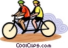 Cyclist on tandem bike Vector Clipart graphic