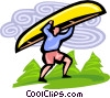 canoeist Vector Clipart graphic