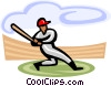 Baseball player at bat Vector Clipart image