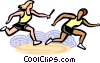 Vector Clipart picture  of a Relay racers passing the baton