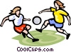 Vector Clip Art picture  of a Soccer players with ball