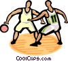 Vector Clipart image  of a Basketball player dribbling