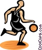 Basketball player dribbling ball Vector Clipart picture