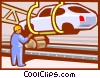 Vector Clip Art graphic  of an Automobile assembly line