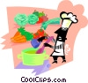 Vector Clip Art image  of a chef with fresh ingredients