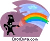painting a rainbow Vector Clipart illustration