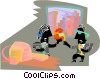 Vector Clip Art graphic  of a office party