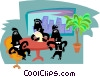 Vector Clip Art image  of a office workers discussing