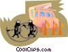 Vector Clipart graphic  of a hydro workers with cable