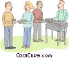 office barbeque Vector Clipart illustration