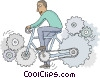 Vector Clipart picture  of a man on a bicycle made of gears