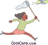 Vector Clipart illustration  of a woman chasing a CD with a