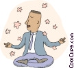 man meditating Vector Clip Art graphic