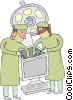Vector Clip Art picture  of a computer technicians working