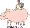 Vector Clip Art image  of a piggy bank