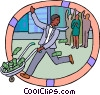 Vector Clip Art image  of a man with wheelbarrow full of
