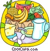 Vector Clip Art image  of a fresh fruits and dairy products
