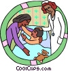healthcare, medical, mother and child with nurse Vector Clipart illustration