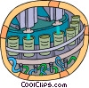 Vector Clipart image  of a factory assembly line
