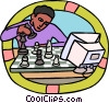 young man playing chess with a computer Vector Clipart illustration