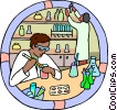 Healthcare, medical, lab technicians Vector Clipart illustration