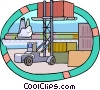 forklift loading containers at the dockyards Vector Clipart illustration