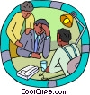 Vector Clip Art graphic  of a office workers consoling a