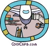 industry, airplane at the loading gate Vector Clip Art graphic
