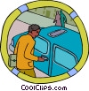 man unlocking a car door Vector Clipart graphic