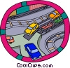 automobiles being offloaded from rail transport Vector Clipart graphic