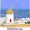Vector Clipart illustration  of a Mediterranean landscape