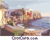 Vector Clip Art image  of a Mediterranean coastal village