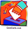 Vector Clipart picture  of a Placing a ballot in the box