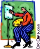 Vector Clipart graphic  of an artist at his easel