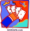 Vector Clip Art image  of a hand with playing cards