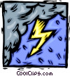Vector Clipart image  of a Lightening and rain