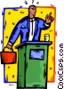 speaking from a podium Vector Clipart graphic