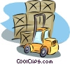 Vector Clipart image  of a forklift with shipping crates