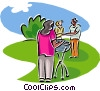Vector Clip Art image  of a family barbeque