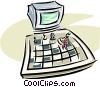 Vector Clip Art graphic  of a computer chess