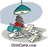 Vector Clip Art image  of a working late