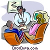 Vector Clip Art image  of a doctor discussing case with