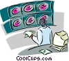 Vector Clipart illustration  of a nurse studying x-rays
