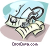 Vector Clip Art graphic  of a doctor's stethoscope and pad