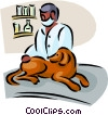 Vector Clipart image  of a veterinary with dog