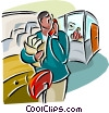 Vector Clip Art graphic  of a man on telephone