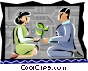 Vector Clipart graphic  of a man and woman sharing a gift
